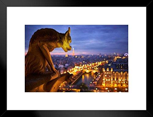 Poster Notre Dame Kathedrale Gargoyle Paris bei Nacht, matt, gerahmt, 50,8 x 66 cm