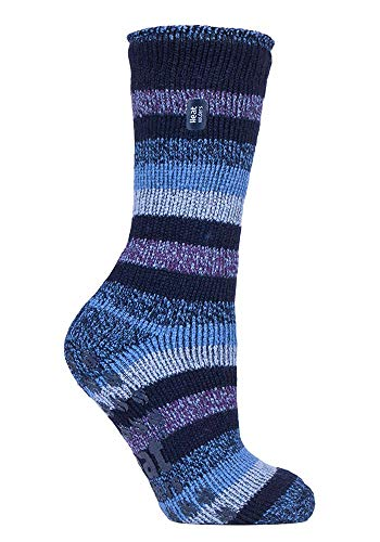 HEAT HOLDERS - Damen Warme Anti Rutsch Stopper Thermo Socken mit ABS Sohle 2.3 TOG (37-42 EU, Marine-Streifen (Juniper))