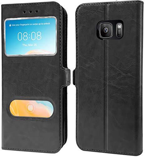 HL Etui pour Samsung Galaxy S7 G930, Pochette Housse 2 Fenetres, PU Cuir, Coque Silicone PVC, Compatible avec ref. G930H G930F G930FD G930W8 (S7 2Fenetres, Noir)
