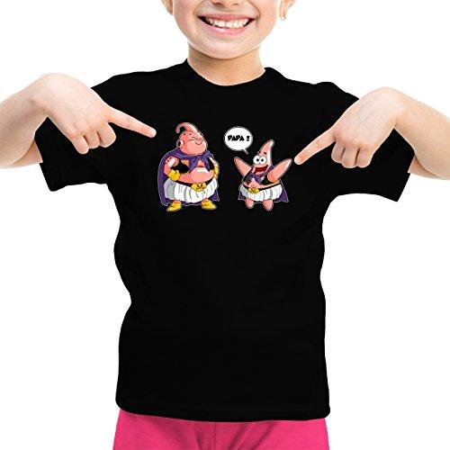 T-Shirt Enfant Fille Noir Dragon Ball Z - Bob l'éponge parodique Majin BOU et Patrick : Papa !! (Tel père, tel Fils !) (Parodie Dragon Ball Z - Bob l'éponge)