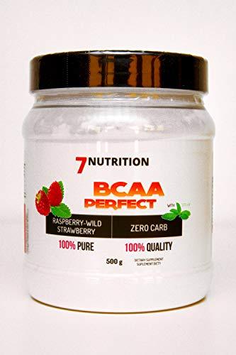 7Nutrition Aminoácidos de Cadena Ramificada - BCAA - Paquete de 1 x 500 g - Regeneración muscular - Leucina isoleucina y valina - Proporción 2:1:1 (Wild Strawberry Raspberry)