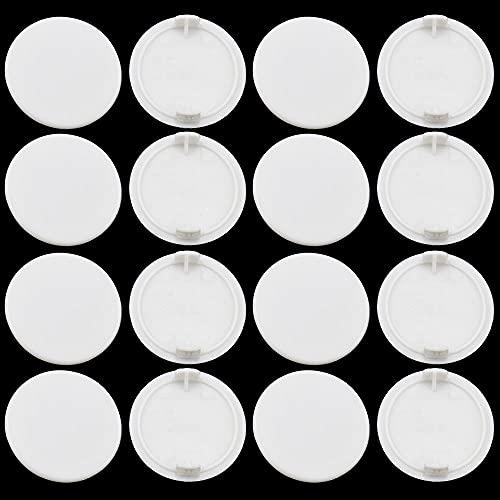 PLCatis - 25 Piezas Tapas Redondas para Ocultar Agujeros 35MM Tapones para Agujeros de Perforación Tapones de Plástico para Muebles Embellecedor Redondo para Orificios Agujeros - Blanco