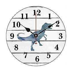 Moonluna Dinosaur Trex Decor Rustic Shiplap Nursery Wall Clock for Kids Wooden Wall Art Decoration Silent Non Ticking Christmas Clock Gifts 14 Inches