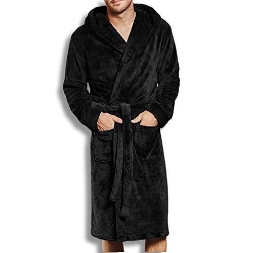 Hombre Robe - Albornoz largo de invierno para hombre, vestido de forro polar, pijama para hombre, suave Negro M