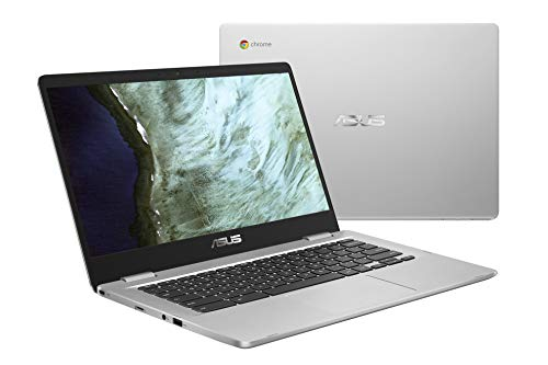 "ASUS Chromebook Laptop- 14.0"" HD 180 Degree NanoEdge Display, Intel Dual Core Celeron N3350 Processor, 4GB RAM, 32GB eMMC Storage, USB Type-A and Type-C, Chrome OS- C423NA-DH02 Silver"