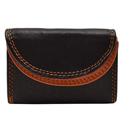 flevado Kleine handliche Party Disco Geldbörse in Mehreren Farben Lifestyle mit RFID Schutz (schwarz orange)