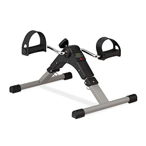 Relaxdays Arm- und Beintrainer, klappbar, für Büro, Zuhause, Senioren Radtrainer, Mini Heimtrainer 39x36x49,5cm, schwarz