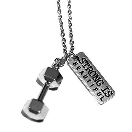 SENFAI Weightlifting Barbell Dumbbell Pendant Necklace for Fitness Fans 18' 3 Tone (Antique Silver)
