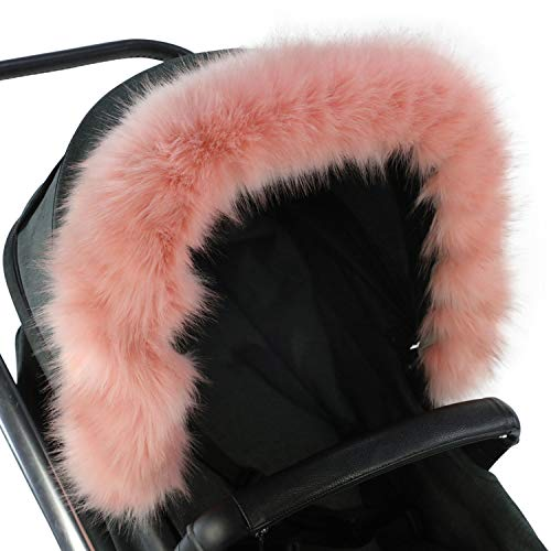 For-Your-Little-One aFHACWB-P164 Pram Fur Hood Trim Compatible On Bumbleride, Rose