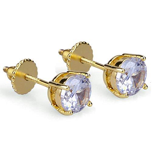 Orecchini filettati tondi dritti di fabbrica di vendita calda eBay Hiphop Orecchini universali in zircone micro-intarsiato da 6 mm-oro