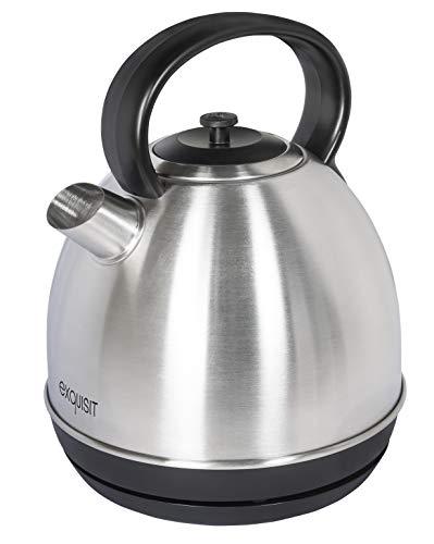 Exquisit Wasserkocher WK 6302 isw| Teekocher| 2200 Watt| 1,7 Liter | Edelstahlwasserkocher | Retro-Wasserkocher | Schwarz-Inox