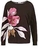 Gerry Weber Damen Pullover Mit Großer Blüte Figurumspielend Choclate/Pink/Ecru Druck 40