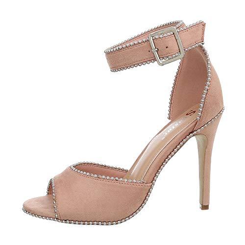 Ital-Design Damenschuhe Sandalen & Sandaletten High Heel Sandaletten Synthetik Altrosa Gr. 40