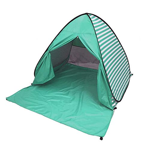 Eplze YBK Tech New Stripe Style Automatic Pop Up Beach Tent UV Protection Instant Portable Quick Cabana Sun Shelter for 2-3 Persons (Green)