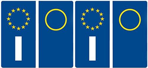 adesivi per targa europea kit 4 pezzi per moto motorino mociclo motocross (2 pezzi per targa anteriore + 2 pezzi per targa posteriore) (14x7 cm (7x3,5 cm cad.))