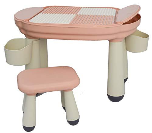 LittleTom 3-in-1 Kinder Spieltisch - Kompatibel mit Lego DUPLO - Kindertisch mit Stuhl ab 1 Jahr