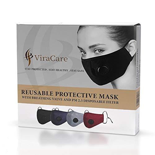 ViraCare masken mundschutz waschbar Navy blau | 1 maske mit 2 Filtern und 1 maske Tasche |