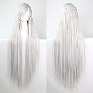 Womens/Ladies 100cm Silver White Color Long STRAIGHT Cosplay/Costume/Anime/Party/Bangs Full Sexy Wig (100cm,Straight,Silver White)