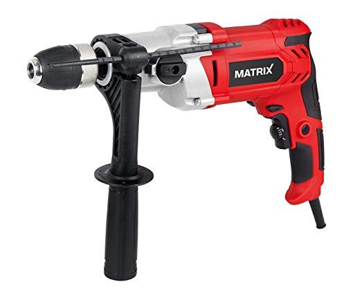 Matrix Schlagbohrmaschine 1200 Watt 120100141 | 2.800 Umdrehungen pro Minute | Metallgetriebe | Schnellspannfutter | Tiefenanschlag, W, 230 V, rot