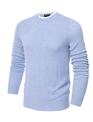AFAIK Men's Crew Neck Pullover Cotton Knitted Long Sleeve Casual Sweater (XXX-Large, 1032-Sea Blue)