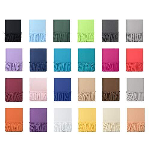 leevitex® Jersey SPANNBETTLAKEN | Spannbetttuch | 100% Baumwolle | MARKENQUALITÄT | ÖKOTEX | 140 x 200-160 x 200 cm | Rosa/Rose