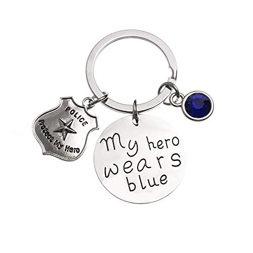 Police Keychain, My Hero Wears Blue Police Keychain, Police Wife, Girlfriend Keychain, Handcuff Keychain, Perfect Gift for Police Officers & Police Wives