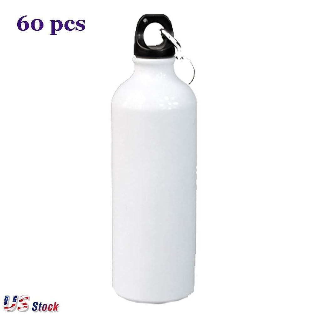 US Stock - 60pcs 750ml White Blank Sublimation Aluminum Sports Water Bottle Heat Press Printing Travel Water Bottles