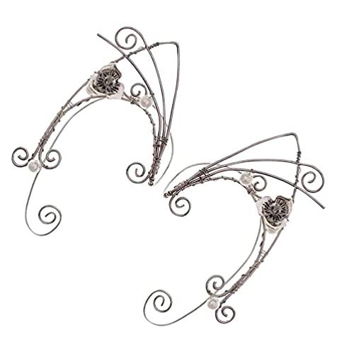 Lurrose 2Pcs Elf Ohr Manschetten Clip Vintage Kupfer Ohr Haken Clip auf Ohr Schmuck für Frauen Teen Mädchen Geschenk