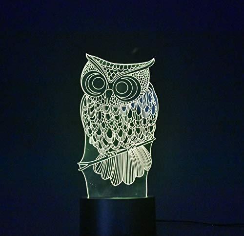 BONHEUR 3D ilusión óptica de Escritorio de la Tabla luz de la lámpara Smart Home Night Lights 7 Colores cambian (Size : Owl)