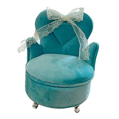 perfeclan Caja de joyería de Estilo Europeo romántico, Organizador de exhibición, Caja de Almacenamiento, Modelo de Muebles para Anillos, Pulsera, Dormitorio - Silla Azul Pavo Real
