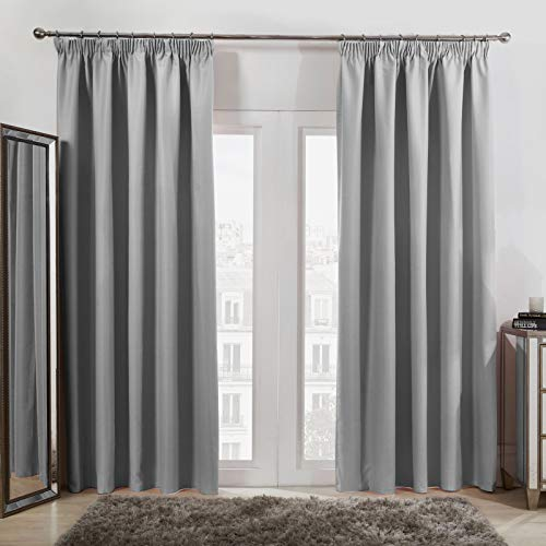 Dreamscene Pencil Pleat Blackout Curtains Set of 2 Thermal Tape Top Heading Panels for Living Room Bedroom, Silver Grey - Width 66' x Drop 72'