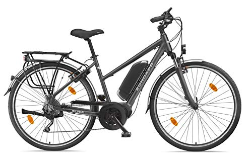 Zündapp E-Bike Damen Elektrofahrrad Alu, mit 10-Gang Shimano Hyperglide-Kettenschaltung, Pedelec Trekkingrad leicht, Bafang Mittelmotor 250 W und 10,4 Ah, 36 V Lithium-Ionen-Akku, Silver 5.5*