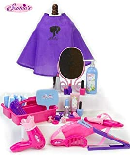 18 Inch Doll Pretend Play Hair Salon 34 Pc. Play Set by Sophia's. Combo Child & Doll Sized Complete Hair Accessory Set for...