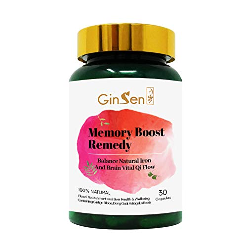 GinSen Memory Boost Remedy Helps Improve Memory, Mental Clarity, Aids Focus, Concentration, Brain Blood Circulation, Natural Herbal Supplement, Chinese Medicine, Made in UK (30 Capsules)