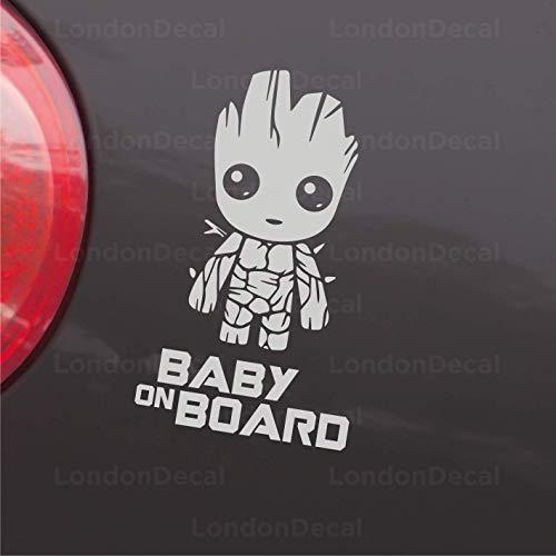 """Baby On Board Aufkleber für Autofenster und Stoßstange, Vinyl, Motiv \""""Baby Groot, Guardians of the Galaxy\"""""""