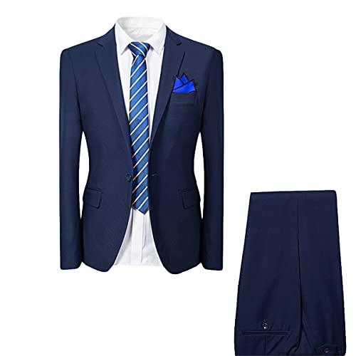 Costume Homme de Couleur Unie Un Boutons d'affaire Mariage Slim fit Deux pièces Bleu Marine L
