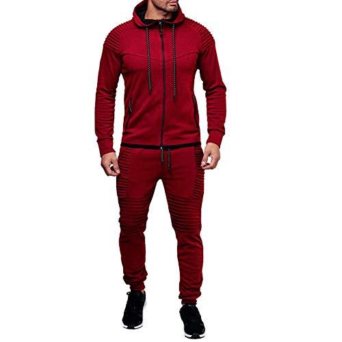 amropi Herren Jogginganzug Trainingsanzug Sportbekleidung Männer Sweatjacke und Trainingshose Sportanzug Rot,5XL