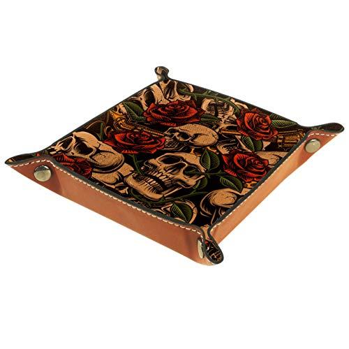 ZDL Caja de almacenamiento con diseño de calavera y flores, organizador para llaves, teléfono, moneda, cartera, relojes, etc. 20.5 x 20.5 cm