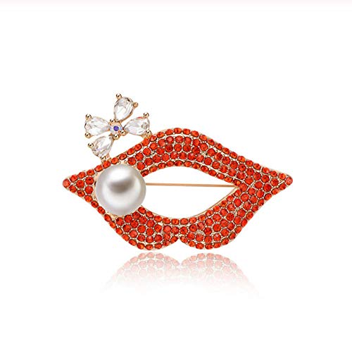 NA Sexy Red Rhinestone Lip Brooches for Women Austrian Crystal Bowknot Brooch Pins Badge Clothes Jewelry Accessories