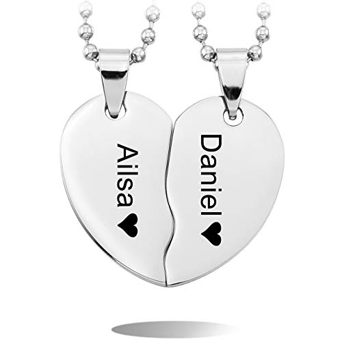 MeMeDIY 2PCS Silber Ton Edelstahl Anhänger Halskette Herz Paar Paare mit 50cm & 58cm Kette Gravur