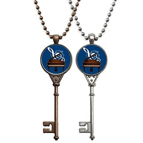 OFFbb-USA Música instrumento clássico piano, partitura, chaveiro, colar, pingente, joias, decoração para casais