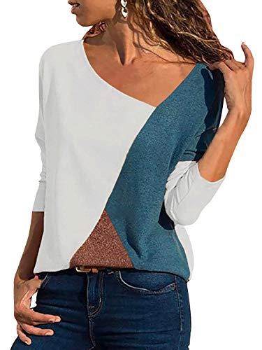 Damen Casual Leopard Patchwork Farbblock Langarm T-Shirt Asymmetrischer V-Ausschnitt Langarmshirt Tops Sweatshirt Tunika Top Pullover Bluse Oberteil (Weiß, XX-Large)