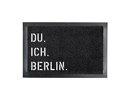 DU. ICH. BERLIN. Fußmatte Türmatte Schmutzfangmatte 40 x 60 cm Türvorleger INNEN & AUSSEN rutschfest WASCHBAR Geschenk Weihnachten Geburtstag Einzug Umzug Hochzeit