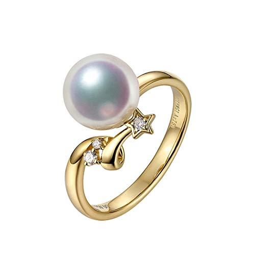 Daesar 750 Gold Ring Frauen Solitärring Akoya Perle Stern Verlobungsring mit Diamant Trauring Gold Große 52 (16.6)