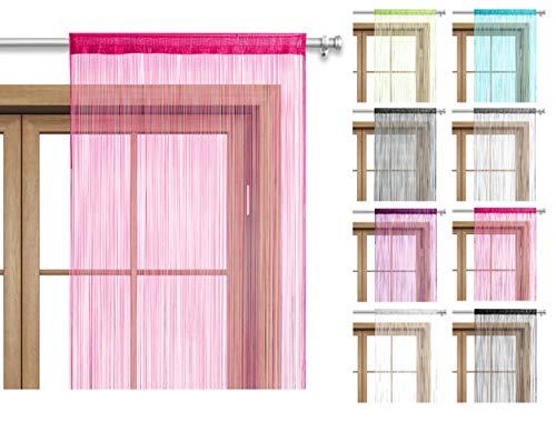 wometo Fadenvorhang Türvorhang 90x245 Stangendurchzug Schlaufe - pink waschbar
