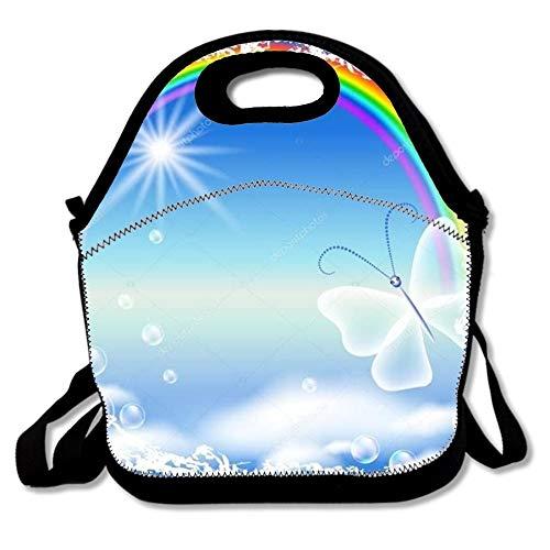 N / A Lonchera para niños Loncheras de poliéster para niños con Arco Iris y Mariposa en Marco de Grunge