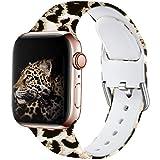 Wepro Kompatibel mit Apple Watch Armband 38mm 40mm, Weiches Silikon Muster Bedruckt Ersatz Armband für Apple Watch SE / iWatch Series 6 5 4 3 2 1, 38mm/40mm-S/M, Leopard