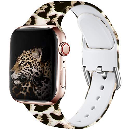 Wepro Kompatibel mit Apple Watch Armband 38mm 40mm, Weiches Silikon Muster Bedruckt Ersatz Armband für iWatch Series 5 4 3 2 1, 38mm/40mm-S/M, Leopard
