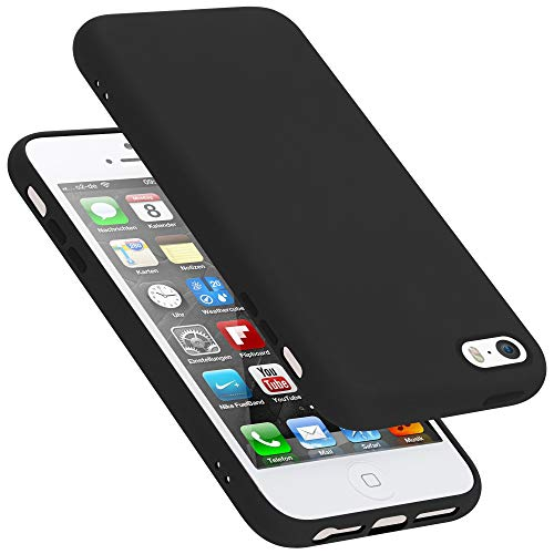 Cadorabo Funda para Apple iPhone 5 en Liquid Negro - Cubierta Proteccíon de Silicona TPU Delgada e Flexible con Antichoque - Gel Case Cover Carcasa Ligera