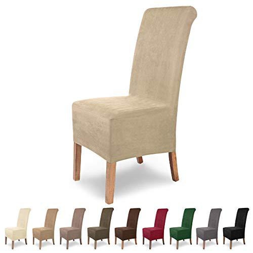 SCHEFFLER-Home Stretch Stuhlhusse Leon | 4er Set elastische Stuhlabdeckungen aus Wildleder | Stuhlhussen Schwingstühle | Spannbezug mit Gummiband | Elegante Stuhlbezüge